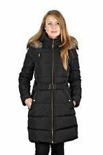 Michael Michael Kors Black 3/4 Length Quilted Hooded Faux Fur Down Puffer Coat