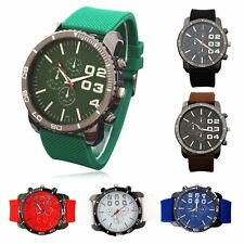 New Present Men Boy's Big Dial Silicone Band Quartz Sport Watch Wristwatch Gifts