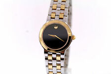 Ladies Movado 0605135 MUSEUM EXCLUSIVE Two-Tone Stainless Black Dial Watch