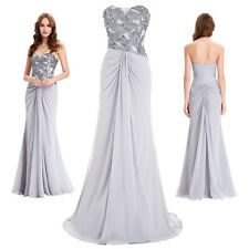 Sequined Long Chiffon Womens Evening Party Dress Prom Formal Ball Gown Cocktail