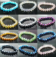 Nice 1X Handmade Women's 8mm 10mm Colorful Crystal Beads Stretch Bracelet Bangle