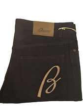 Nwt BRIONI Italy Men's Black Twill Cotton B Logo 5 Pocket Pants Trousers Slacks