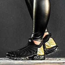 NIKE WOMENS AIR MAX SLIP BLACK GOLD METALLIC SIZE 6 7 8 9 NO HUARACHE TRAINERS