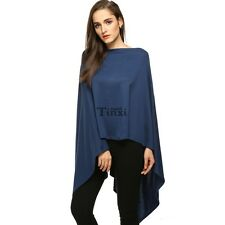 Women Fashion Slash Neck Long Asymmetric Hem Wraps Poncho Cape Coat Spring