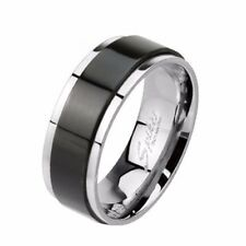 Spinner Black IP Two Toned 316L Stainless Steel Mens Band Ring SZ 7-12