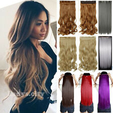 Deluxe One Piece Ombre Clip In Hair Extensions Full Head Long Straight Curly T2Q