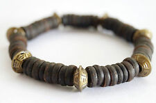 Retro Style Brass Tone Beads Black Coconut Shell Wood Stretch Stacking Bracelet