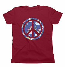 Mens/Ladies T-Shirt UNICORN Peace Sign Unisex Birthday Gift by Buzz Shirts