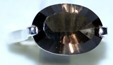 Smoky Quartz Solitaire Gemstone, solid 925 Sterling SILVER Rings Unique Ring