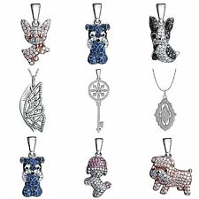 925 Solid Sterling Silver Necklace Pendants Zircon Animals Style Fashion Jewelry