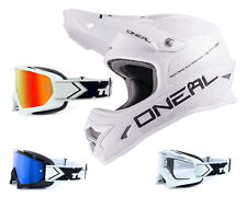 Oneal 3Series Helmet Flat white with TWO-X Racing Goggles Crosshelm