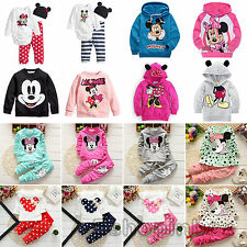 Kids Baby Girls Clothes Cartoon Sweatshirt Hooded Coat Top Pants Outfits Set
