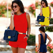 Sexy Women Clubwear Halter Playsuit Bodycon Party Jumpsuit Romper Short Trousers