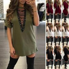 Ladies V Neck Front Casual Lace Up Tie Plunge Tops Shirt Choker Mini Dress Women