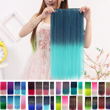 Women Colorful  Ombre Onepiece Full Head Long Straight Hairpiece Hair Extensions