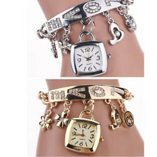 Rhinestone Love Fashion Women's Bracelet Square Pendant Quartz Watch Wristwatch