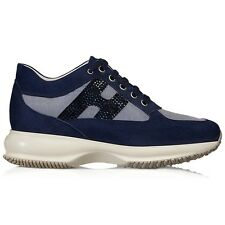 Hogan Interactive women's fashion sneakers in blue suede & strass logo