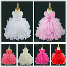 Baby Girl Princess Bow Dress Toddler Wedding Party Pageant Tulle Dresses Costume
