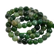 """Natural Green Grass Moss Agate Gemstone Round Loose Spacer Bead 15"""" Strand 8/6mm"""