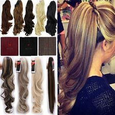 Thick Clip In On Ponytail Hair Extensions Jaw Claw On Pony Tail Brown Blonde RED