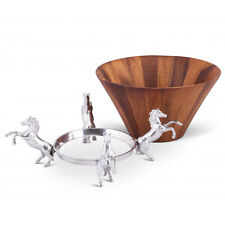 Arthur Court Designs Equestrian Wood Tall Salad Bowl - Horses