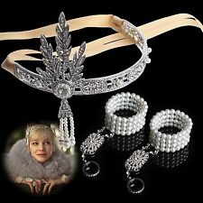 Tiara Rhinestone Hair Crown Crystal Pearls Great Gatsby Bracelet Bangle Ring Set