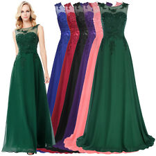 New Long Chiffon lace Graduation Party Ball Evening Prom Gown Bridesmaid Dress