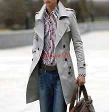New Mens Double Breasted Trench Coat Long Casual Slim Fit Jacket Outwear Lepal