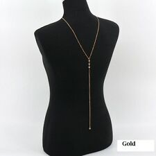 Rhinestone long drop Chain fashion Necklace back-drop pendant Silver or Gold S1