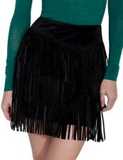 Scully Western Skirt Womens Suede Tiered Fringe Zip Mini Skirt L704