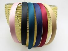 "2 Pcs Wide 15mm(3/8"") Alice Covered Satin Hair Band Headband Korean Hairband"