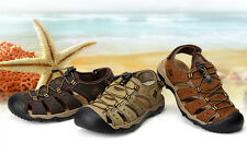 Mens Sport Leather Sandals Casual Shoes For Fisherman Outdoor Sandals large size