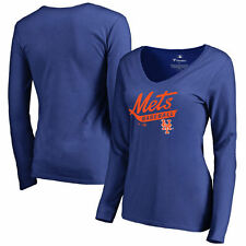 New York Mets Women's Front Sweep Slim Fit Long Sleeve T-Shirt - Royal - MLB