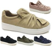 WOMENS LADIES FLAT CASUAL SLIP ON KNOTTED BOW SKATER PUMPS SHOES SIZE 3 - 8