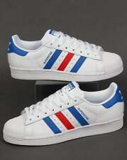 adidas Originals - Adidas Superstar Trainers in White, Blue & Red - shell toe