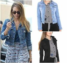 New Ladies Womens Denim Jacket Long Sleeve Cropped Jean Outerwear Vintage