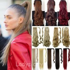Long Real Hair Wrap Around Ponytail Clip In Hair Extensions Real Human Made UK