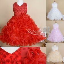 Girls Kids Pageant Flower Dress Beading Formal Gown Party Princess Ball Gown