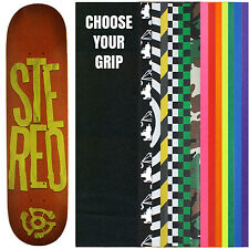 STEREO Skateboard Deck STACKED LOGO RED/GREEN 7.75 with GRIPTAPE