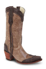 Womens Brown Camel Cowgirl Western Leather Boots REDHAWK 37100 Size 5-10 (B, M)