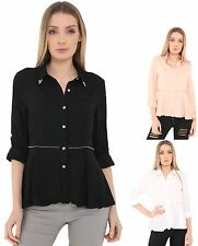 Womens Ladies 100% Cotton Top Shirt Zip Trimming Office Work Blouse Collared