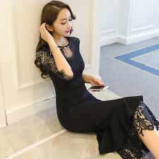 Fashion Women's V-neck Sexy Lace Slim Fit Dress 3/4 Sleeve Cocktail Party Skirt