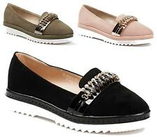 WOMENS FLATS LOW HEEL LOAFERS DIAMANTE SMART LADIES CLASSIC SHOES SLIP ON SIZE