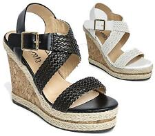 WOMENS WEDGE HEEL ANKLE BUCKLE STRAP WEAVE PEEPTOE SUMMER SANDALS SHOES SIZE