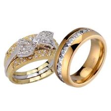His and Hers Wedding Rings 3 pcs Engagement CZ Sterling Silver Titanium Set O