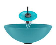 Polaris Sinks P106-TQ-WF Turquoise Bathroom Glass Vessel Sink Ensemble
