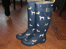 BNWT LADIES JOULES WELLIES WELLINGTONS NAVY DOG SIZE 5 OR 7.RRP £39.95 FESTIVALS