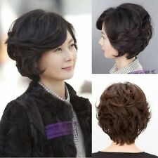 2017 Young Mom's Wig Short Wavy Hair Full Wig Natural Black Brown Healthy Wigs