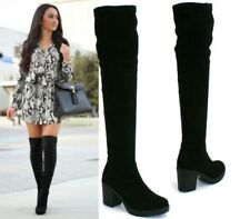 LADIES THIGH HIGH OVER THE KNEE MID HIGH HEEL PLATFORM STRETCHY BOOTS SHOES SIZE