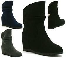 WOMENS FLAT HIDDEN WEDGE SLOUCH LOW HEEL WEDGE ANKLE BOOTS SHOES PIXIE CASUAL
